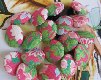 6 Fabric Covered Tiny Buttons - Floral - 1.3 cm