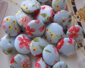 6 Fabric Covered Tiny Buttons - Blue Floral - 1.3 cm
