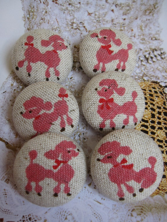 6 Fabric Covered Buttons - Pink Poodle - 2.5 cm