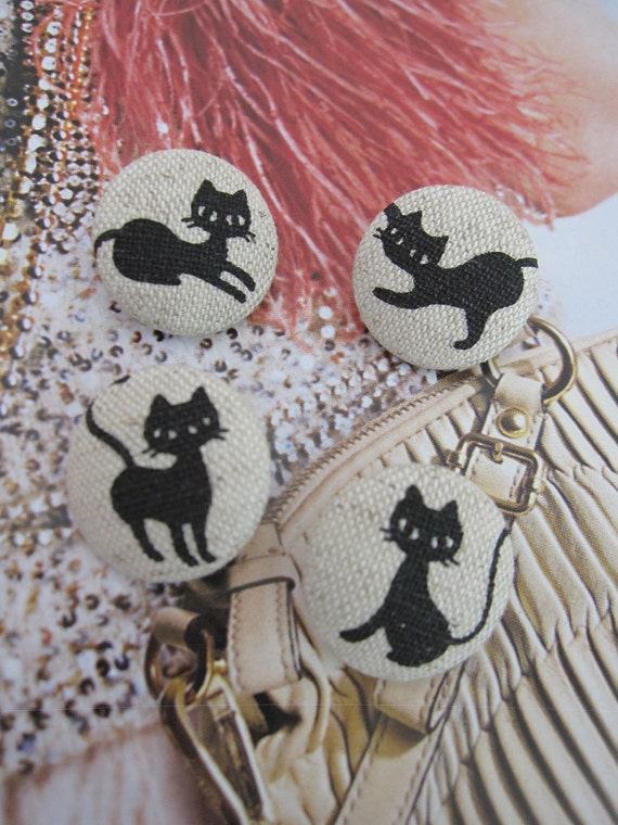 Set of 4 Fabric Covered Buttons - Cats - 2cm