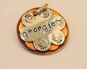 Custom pet ID tag- personalized mixed metal tag flower tag for small dogs and cats-  the Georgie