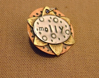 Custom pet ID tag- personalized mixed metal sunflower tag for dogs and cats-  the Molly