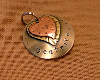 Small Dog ID Tag-Beatrice mixed metal pet i.d tag