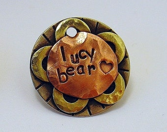 Lucy Bear -Pet ID tag- mixed metal