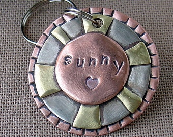Medium Dog ID tag- metal pet id tag with Sun- Sunny