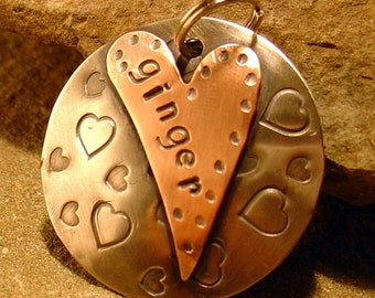 Pet ID Tag- large tag personalized for your pet- for the bigger dog and key chains - the Ginger