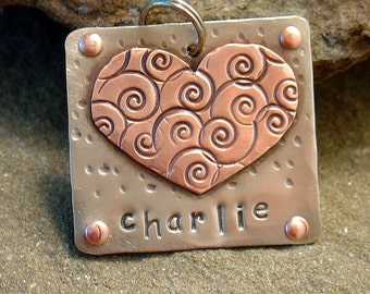Custom pet ID tag- personalized mixed metal tag for dogs- the Charlie