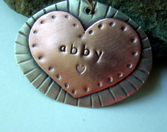 Custom pet ID tag- personalized mixed metal tag for dogs- Big Abby