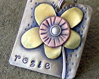 Custom dog tag- metal tag for pets with flower-  the Rosie