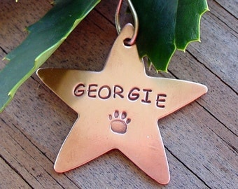 Copper Star Personalized Pet Christmas Ornament