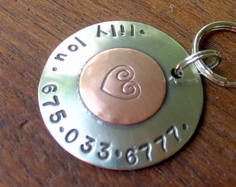 Large Dog ID Tag-sealed with a heart
