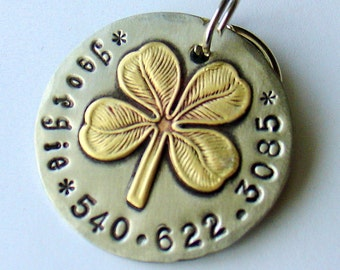custom dog id tag- Brass four leaf clover