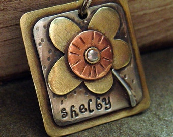 Custom dog tag- personalized mixed metal tag for pets-  the Shelby