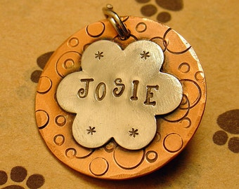 Custom dog tag- personalized mixed metal tag for your pet-  the Josie