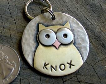 Dog ID Tag- large metal pet id tag-  Large owl tag
