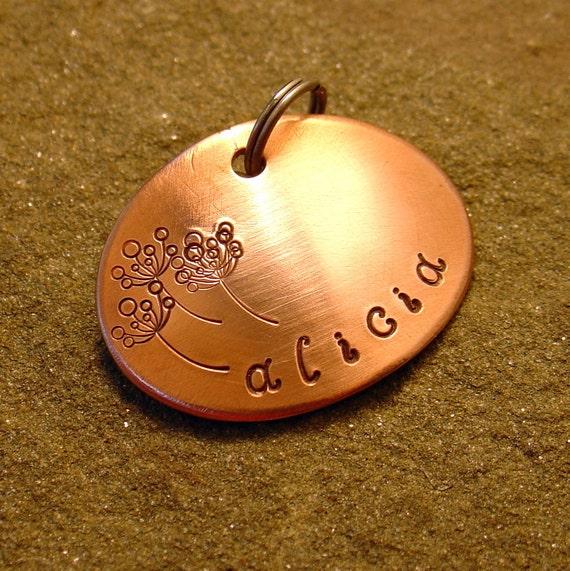 Alicia- personalized pet id tag in copper