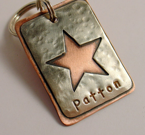 Dog ID tag- Sarge- mixed metal pet id tag for medium to large dogs