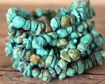 Turquoise Chip Layering Stretch Bracelet - Bohemian Boho Chic Stackable Blue Green Brown Stone Jewelry