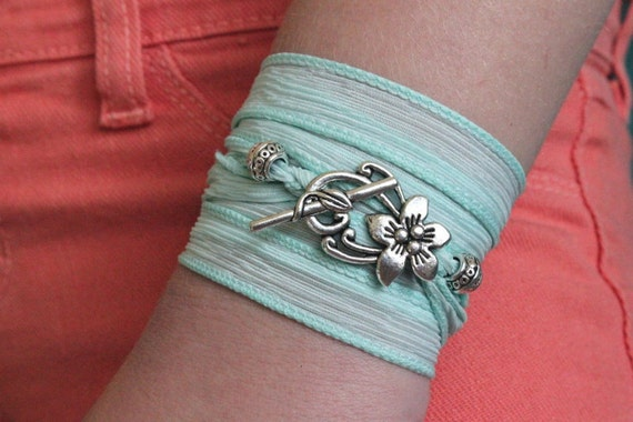 "Mint Silk Ribbon Wrap Bracelet ""Seafoam"" -  Color Blocking Summer Beach Surfer Jewelry with Hibiscus Flower Clasp"