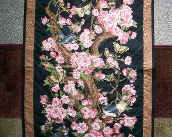 28x47 Asian cherry blossoms wall quilt
