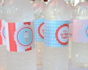 Ice Cream Parlor Party Collection: Printable Water Bottle Wraps/Labels