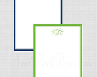 Solid Border Monogram Collection: Personalized Flat Notecard in Color Choice