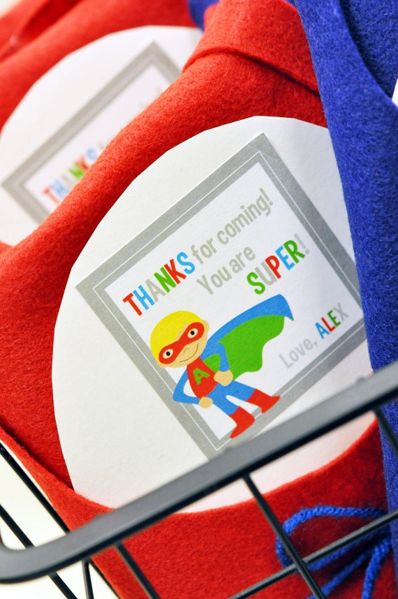 Superhero Party Collection:  Personalized Printable Favor Tag