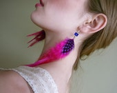 Feather Earrings in Hot Pink, Purple Polka Dot  with Glass Bead VERONICA