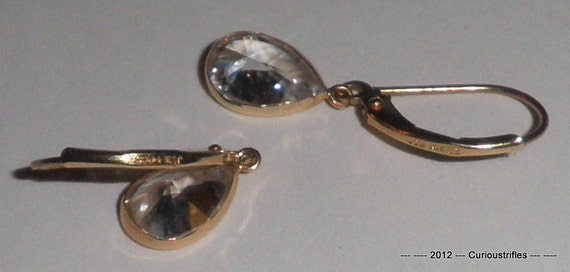 14K Gold - CZ Tear Drops on Hoop Type Earrings - 1.7 Grams - REDUCED