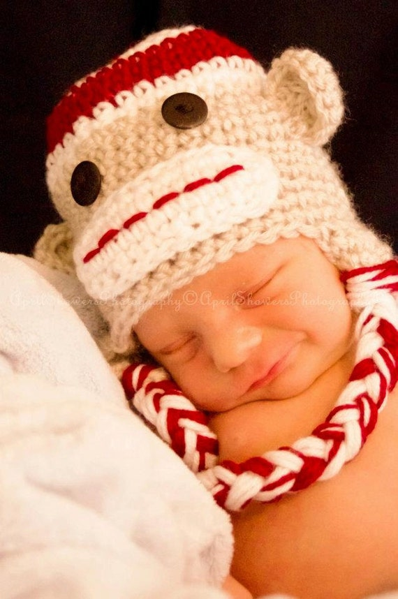Crochet baby hat, Crochet Sock Monkey Beanie, newborn prop, photo prop, baby prop, sock monkey hat, baby shower gift, cake smash hat