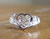 10% Off Sale VINTAGE Filagree Heart Sterling Silver Ring Size 5.5 / Edwardian Revival, Romantic, Love, Intricate Lace