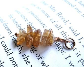 Small Hessonite Garnet Autumn Pendant on Copper Wire / Abstract Organic Earthy Fall Jewelry, Fiery Pumpkin Orange, Unique Linear Dangle