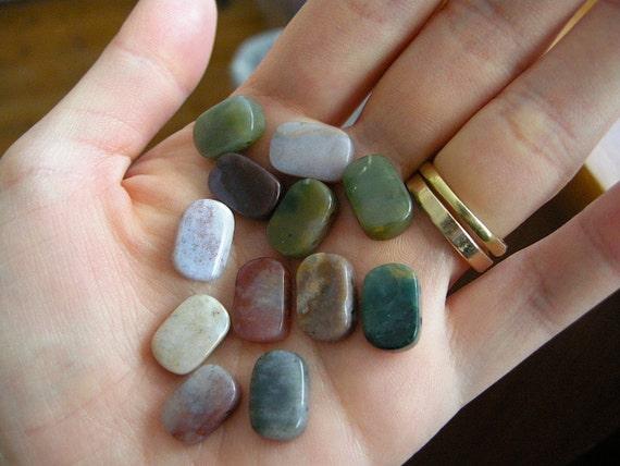 DESTASH Earthy Fancy Jasper Oval Stones (Multicolor Set of 12/ Two Large Drill Holes)