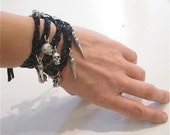 Sexy Edgy Leather Skull and Spike Snake Print Wrap Charm Bracelet