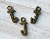 10pcs of Antique Bronze lovely Letter J Connector Charm Pendants Drops 24310