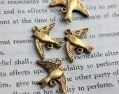 10pcs of Antique Gold Swallow Bird Connector Charms Pendants Drops 20654