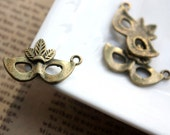 10pcs Antique Bronze Costume Party, Fancy dress party, Masquerade Ball, Mask Charms Pendants A1765