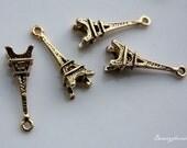 10pcs of Antique Gold 3D Eiffel Tower Travel Theme Charms Pendants Drops 19723