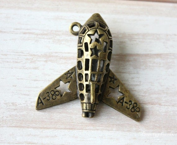1 pcs Antique Bronze Stunt Plane / Crop Duster (American Star) aircraft Charms Pendants Drops  37x37mm 24412 Big