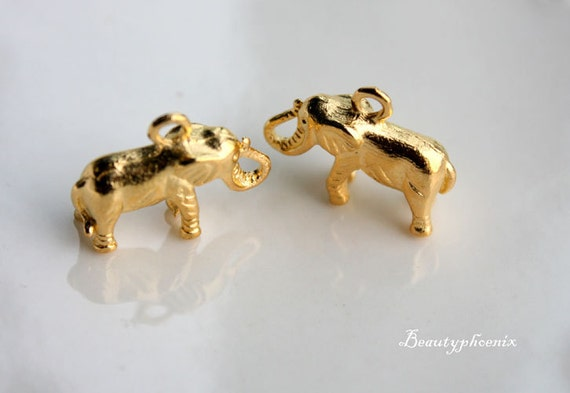 10pcs of Antiqued Gold 3D Thai Elephant Charms Pendants Drops Zipper 24806