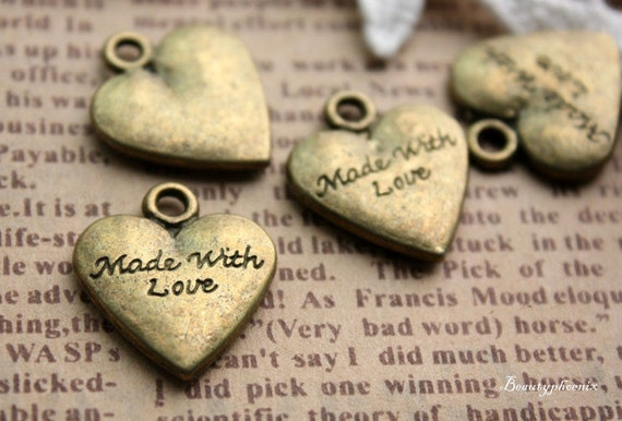 5pcs of Antiqued Bronze One-Sided Made With Love Heart Signature Charms 24128