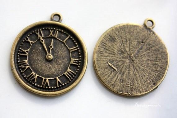 5pcs of Antique Bronze Vintage Roman Numeral Clock Charms Pendants Drops 23210