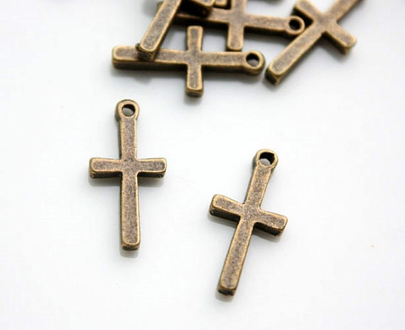 25pcs 19x9mm antique Bronze Cross charms pendants 20172