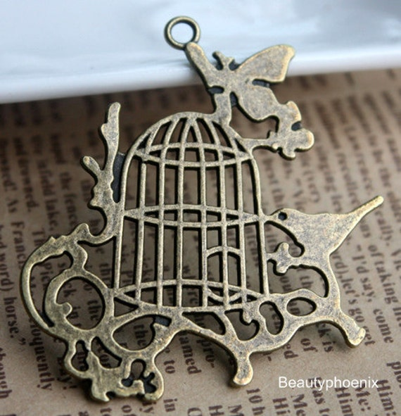 2pcs of 55x51mm Antique Bronze Lovely Big Brid Cage with Birds Farm Garden Connector Charms Pendants Drops 25851