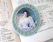 genre painting brooch - pale blue seafoam brooch with portrait - cameo style - lovely lady - free shipping