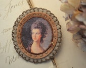 taupe and warm brown brooch - lady portrait brooch - cameo style