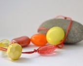 bright zesty beaded necklace - orange, yellow, coral - coral cotton cord - free shipping - gift for her - arty orange necklace - OOAK