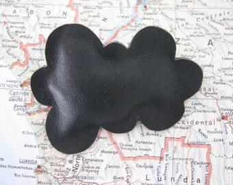 cloud brooch - black cloud leather brooch - unique cloud brooch - cloud sky brooch