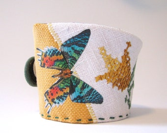 mustard yellow cotton cuff with butterfly - natural history - butterfly print cuff- wrist cuff - textile bracelet - mothers day gift
