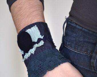 blue textile collage eco bracelet - indigo blue wrist cuff - aqua accents - blue cotton lace bracelet - blue repurposed fabric cuff